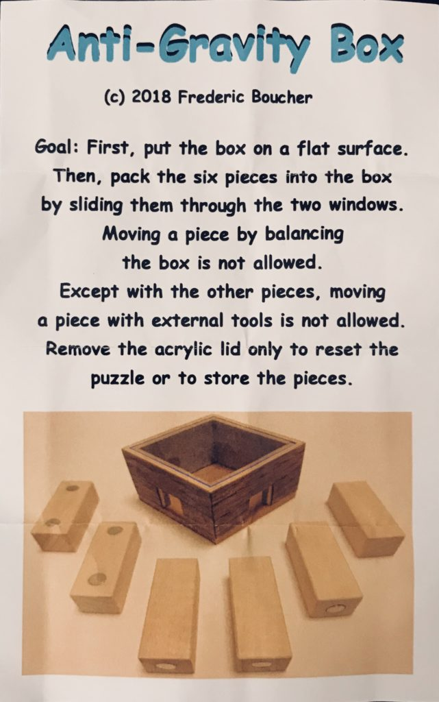 Anti-Gravity Box puzzle designed and made by Frederic Boucher